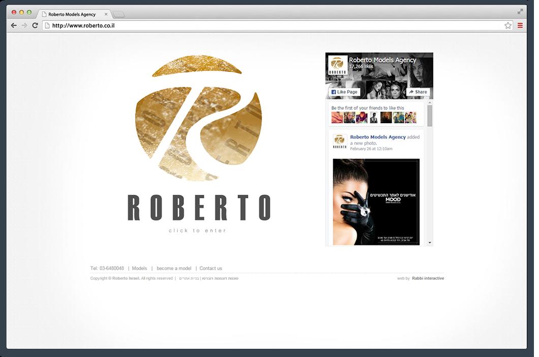 העמוד הראשי של אתר סוכנות רוברטו בגרסת הדסקטופ