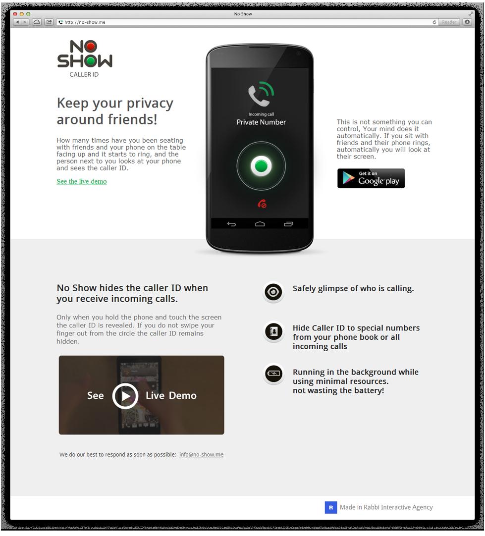 מיניסייט ייעודי שהוקם לחברת ההזנק ולאפליקציה