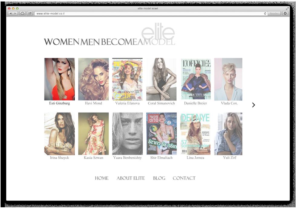 בניית אתר אינטרנט לסוכנות הדוגמנות עלית מודל