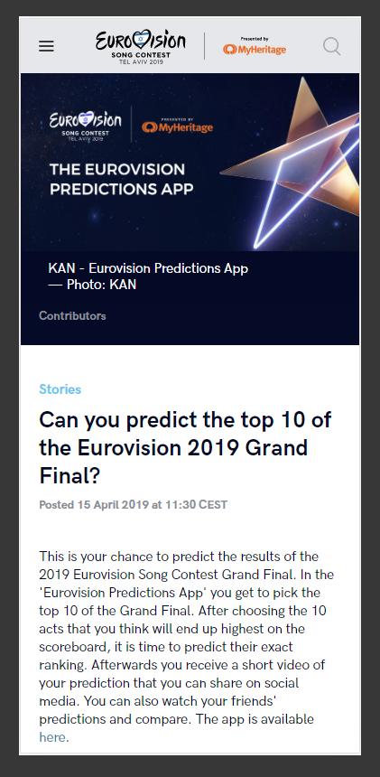 הצגת משחק החיזוי באתר הרשמי של האירוויזיון