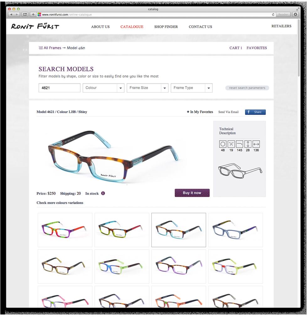 הצגת צורה המשקפיים ואפשרות בחירת צבעים לכל צורה