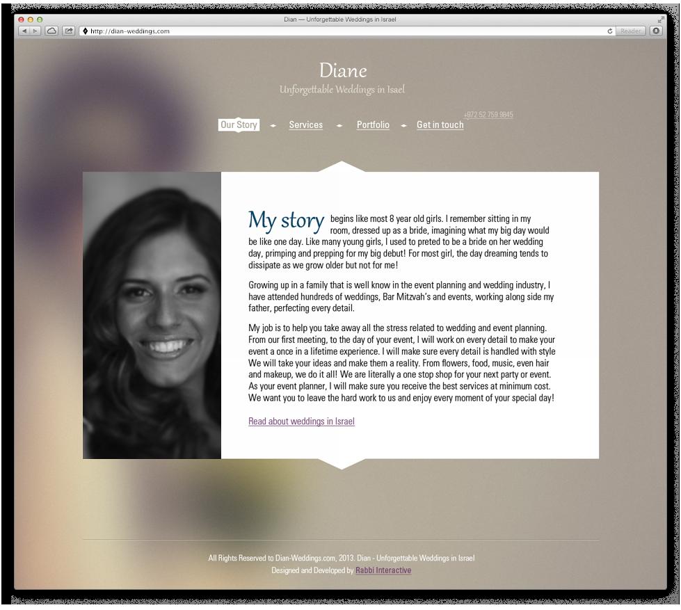 אתר האינטרנט של דיאן פז, מפיקת אירועים בישראל