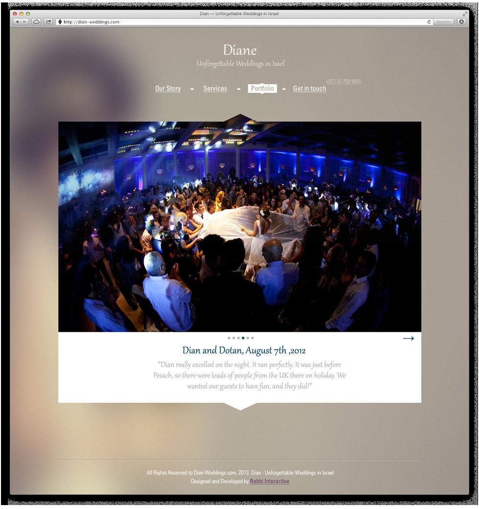 גלריית האירועים שהפיקה דיאן באתר האינטרנט